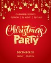 Christmas party poster template. Hand written lettering. Golden glitter border, garland with hanging balls and ribbons.