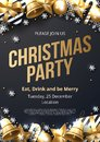 Christmas party poster template with shining gold and white ornaments