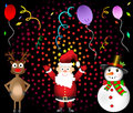 Christmas party santa claus red nosed reindeer and snowman set illustration Royalty Free Stock Images