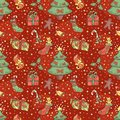 Christmas pattern with confetti seamless cartoon background Stock Photos