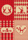 Christmas pattern with deers, vector Royalty Free Stock Photo