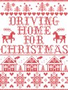 Christmas pattern Driving home for Christmas carol seamless pattern inspired by Nordic culture festive winter in stitched