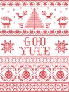 Christmas pattern God Yule seamless pattern inspired by Nordic culture festive winter in cross stitch with heart, snow