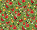 Christmas pattern on a green background Royalty Free Stock Images