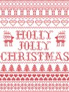 Christmas pattern Holly Jolly Christmas carol seamless pattern inspired by Nordic culture festive winter in cross stitch