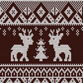 Christmas pattern knitted seamless with deer Royalty Free Stock Photo
