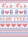 Christmas pattern Merry Christmas in Norwegian God Yule seamless pattern inspired by Nordic culture festive winter stitched