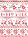 Christmas pattern Merry Christmas in Norwegian God Yule seamless pattern inspired by Nordic culture festive winter stiched