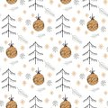 Christmas pattern with new years toy gold color consisting of xmas tree, ball, snowflake art deco line style for poster, sale,