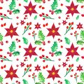 Christmas pattern with red poinsettia flowers and holly berries on white background, hand painted watercolor illustration