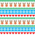 Christmas pattern with reindeer pattern scandynavian sweater style winter red and green background knitted Royalty Free Stock Photography