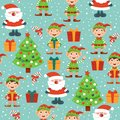 Christmas pattern with Santa, Christmas tree, gifts and elves