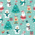 Christmas pattern with Santa, tree, polar bear. snowman, deer and penguin.,