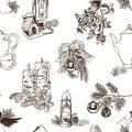 Christmas pattern sketch drawn seamless line Royalty Free Stock Photo