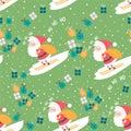Christmas pattern with skier Santa, bag, boxes and ho ho ho