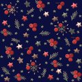 Christmas pattern with spruce branches, stars and berries