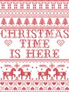 Christmas pattern Christmas time is here carol seamless pattern inspired by Nordic culture festive winter in cross stitch