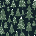 Christmas pattern - varied Xmas trees and snowflakes. Simple seamless Happy New Year background. Royalty Free Stock Photo