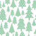 Christmas pattern - varied Xmas trees and snowflakes. Royalty Free Stock Photo