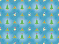 Christmas pattern with xmas symbols blue seamless Royalty Free Stock Images