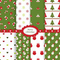 Christmas patterns set of seamless Royalty Free Stock Image