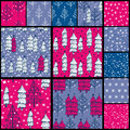 Christmas patterns set of winter seamless pattern with stylized fir trees and falling snow cards Royalty Free Stock Photos