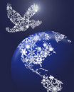 Christmas Peace Dove On Earth Royalty Free Stock Photo