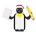 Christmas penguin holds a pencil and notepad illustration of on white background Stock Image
