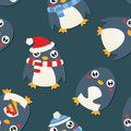 Christmas Penguin Pattern Royalty Free Stock Photo