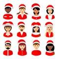 Christmas people avatars Vector illustration