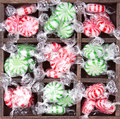 Christmas peppermint candy in box Stock Images