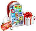 Christmas phone illustration a mobile wearing a santa hat with bauble cracker and gift Royalty Free Stock Photos
