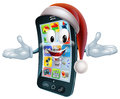 Christmas phone mascot illustration of a character wearing a santa hat Royalty Free Stock Photography