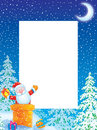 Christmas photo frame / border with Santa Claus Royalty Free Stock Photos