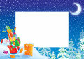 Christmas photo frame / border with Santa Claus Stock Images