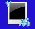 Christmas photo frame decorated snowflakes Royalty Free Stock Photos