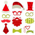 Christmas photobooth party set glasses hats lips mustaches masks in Stock Photo