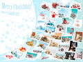 Christmas pictures collage set of flying over abstract winter background Royalty Free Stock Images