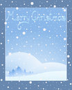 Christmas pine an illustration of a greeting card design with the words merry over a snowy background Royalty Free Stock Image