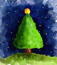 Christmas pine style oil painting Royalty Free Stock Photo