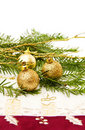 Christmas pine tree branch and decorations Royalty Free Stock Photography