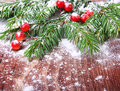 Christmas pine tree branch on a wooden board Royalty Free Stock Photo