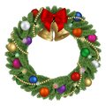 Christmas pine wreath with red bow, colorful balls, gold bells and lights Royalty Free Stock Photo