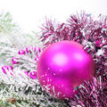 Christmas pink with snow Stock Photos