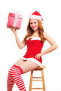 Christmas pinup girl Stock Photo