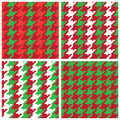 Christmas Pixel Houndstooth Patterns Royalty Free Stock Photo