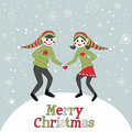 Christmas pixies elves dancing in the snow vector illustration of romantic boy girl Royalty Free Stock Image