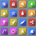 Christmas plain icons color with shadow effect Stock Image