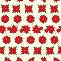 Christmas Poinsettia and gold texture seamless floral pattern background. Vector