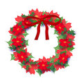 Christmas poinsettia wreath Stock Images